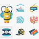 Flat color diving vector icons