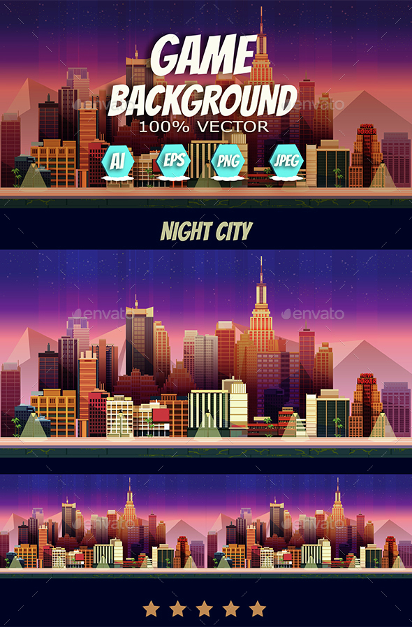 Game Assets Night City Game Background (Backgrounds)