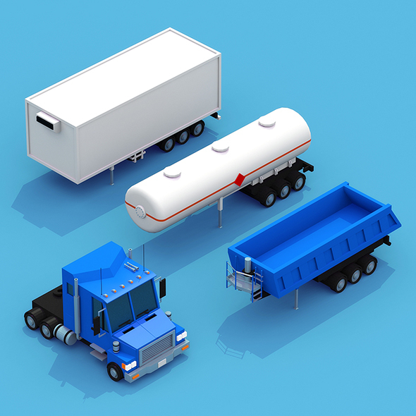 3DOcean Truck with three trailers 14769289