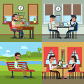 Business people working in various workplace