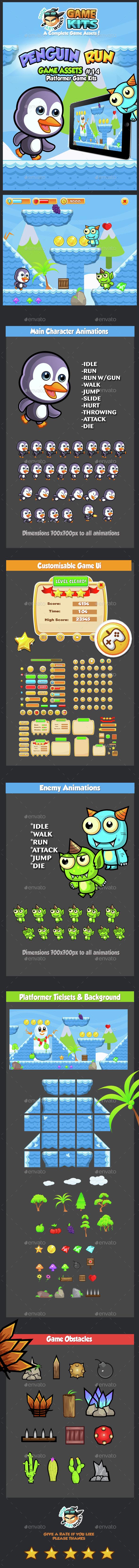 Penguin Run Platformer Game Assets 14 (Game Kits)