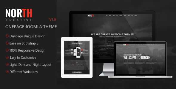 North - One Page Parallax Joomla Template