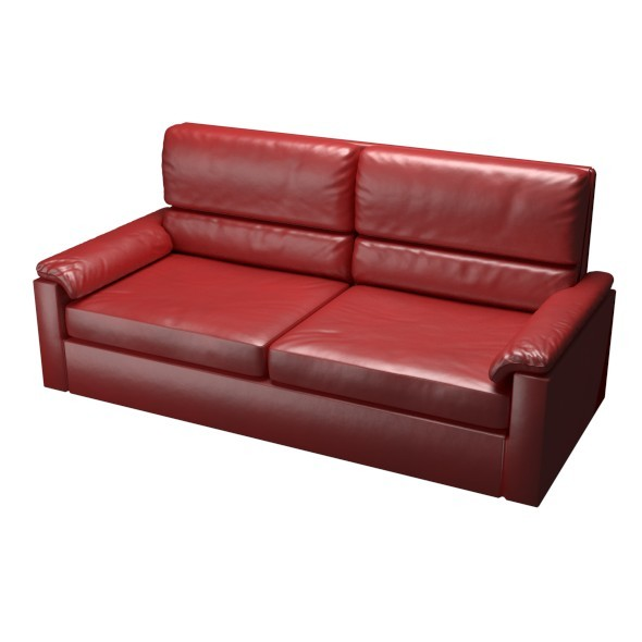 Red Leather Couch - 3DOcean Item for Sale