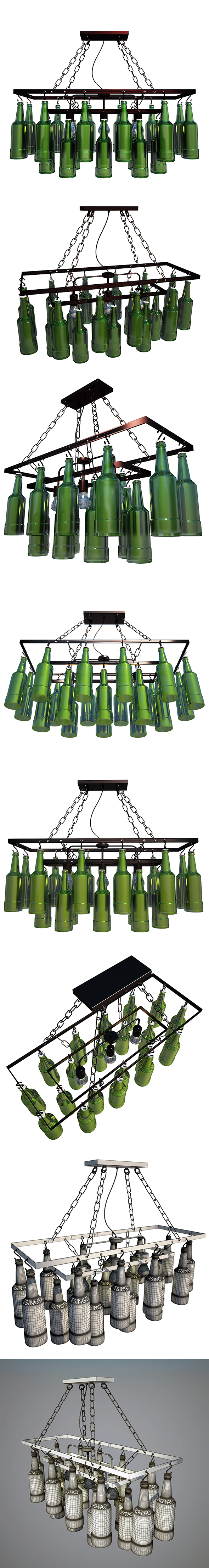 Pendant Lamp Beer Bottles - 3DOcean Item for Sale