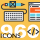 Set of Thin Line Flat Design Icons of Design, Development and SEO
