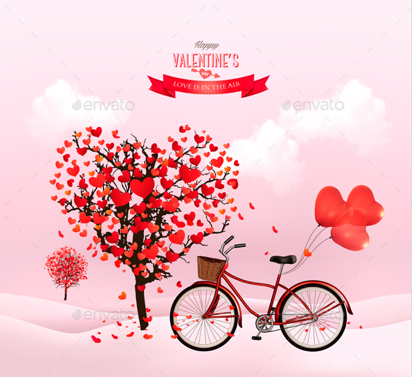 Valentines Day Background with a Heart Shaped Tree