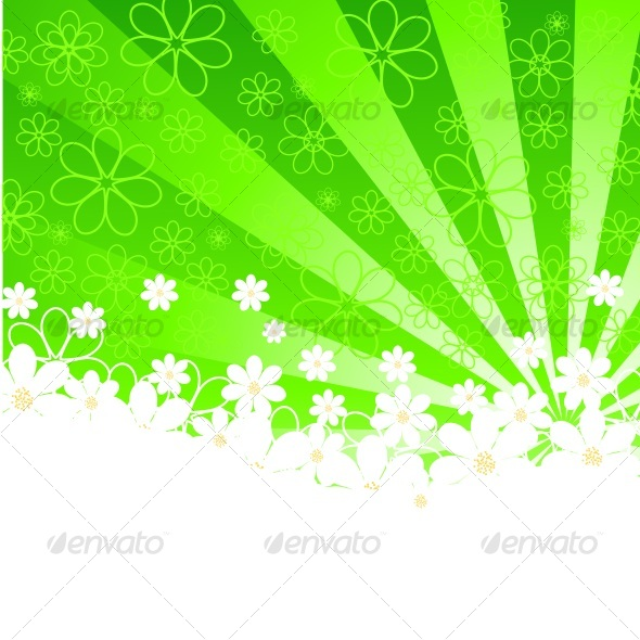 GraphicRiver green background with daisies and sunshine vector 58405
