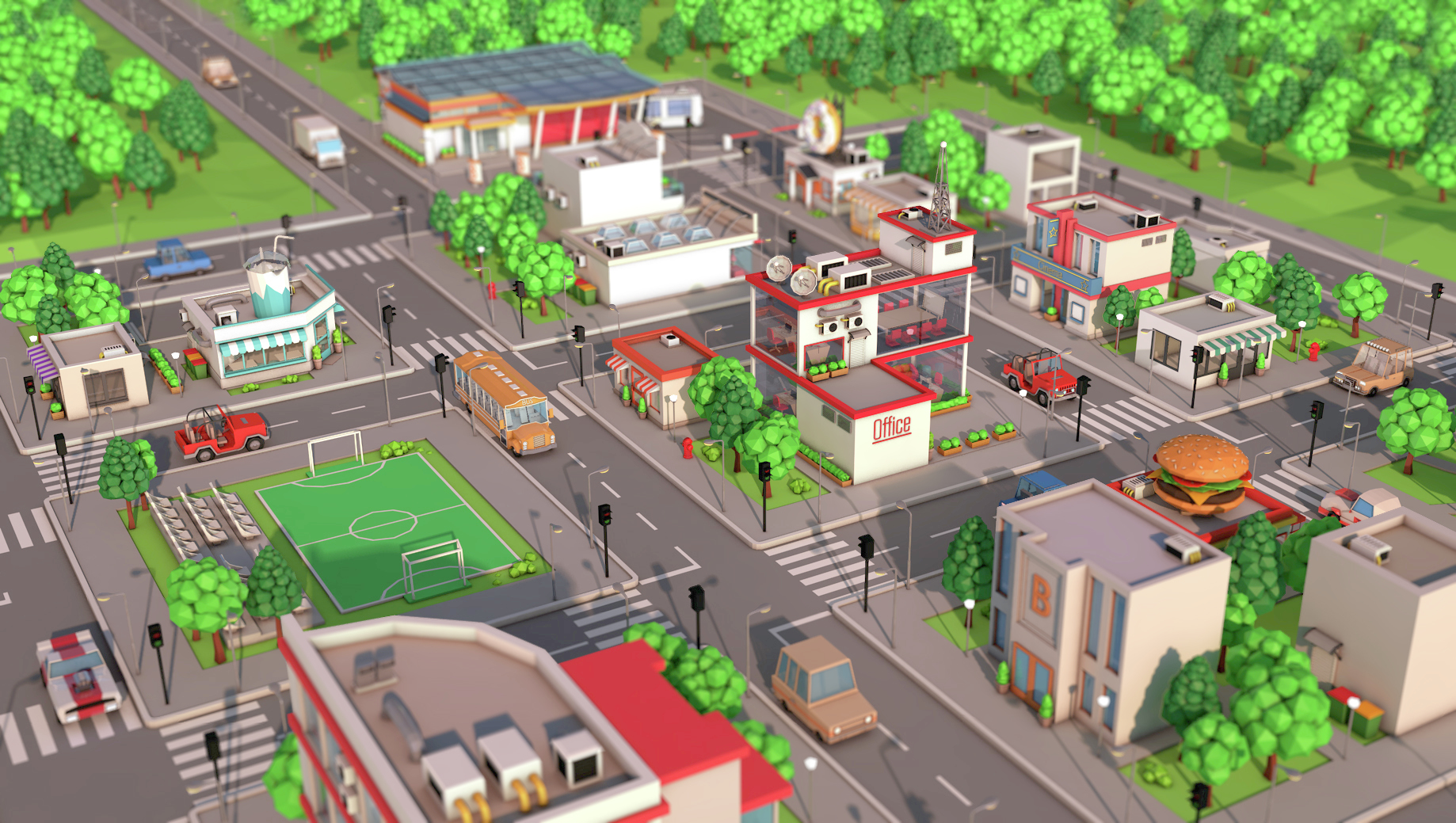 Low Poly City Pack by BigBallsStudio | 3DOcean