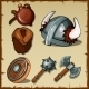 Set Of The Vikings Weapons And Equipments