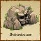 Download Vector Scary Underwater Cave With The Skull And Grass