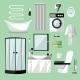 Bathroom Interior Furniture. Vector Illustration