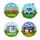 City Buildings Vector Icon Set In Flat Style
