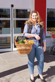 Beautiful woman shopping for groceries