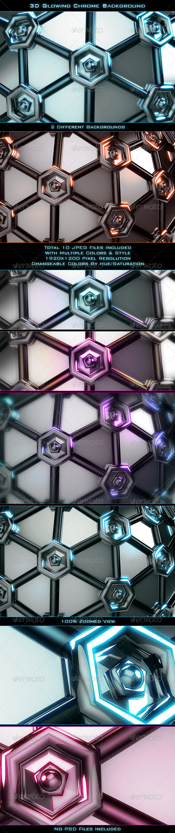 3D Glowing Chrome Background - 3D Backgrounds
