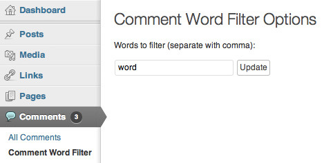 WP Comment Word Filter - A screenshot showing the plugin's Options page, where the user can specify which words are going to be filtered from the comments.