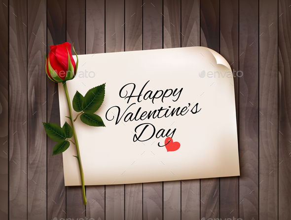 Happy Valentines Day Background With A Note  Vector
