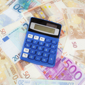 Calculator with Euro notes.  Budget Concept.  Money and calculat