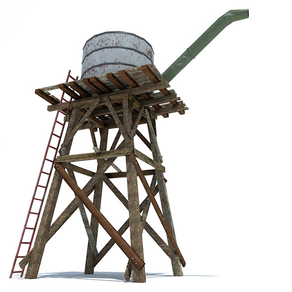 Low Poly Wild West Water Tank - 3DOcean Item for Sale