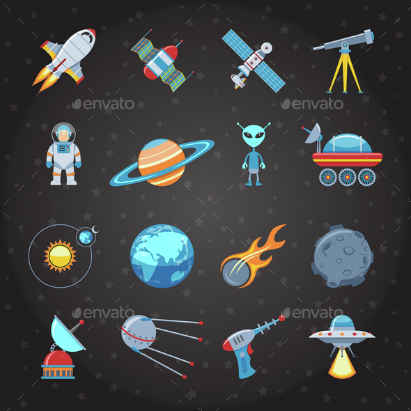 Space And Astronautics Flat Icons Set