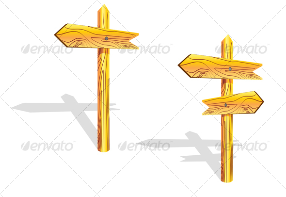 GraphicRiver Wood arrows on the post 58498