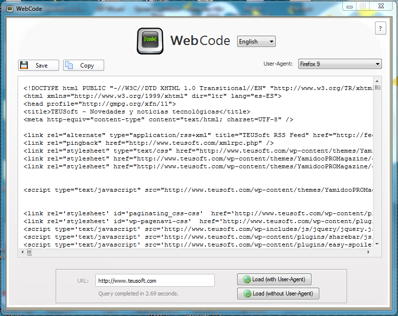 WebCode - Get the code from any web - Code loaded from a site in WebCode.