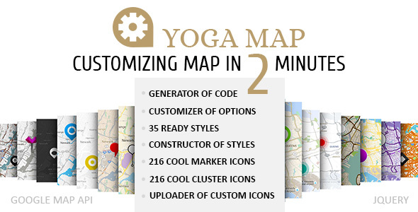 Yoga Map - Customizing and Generation of Styles, Markers and other of Google Map Options.