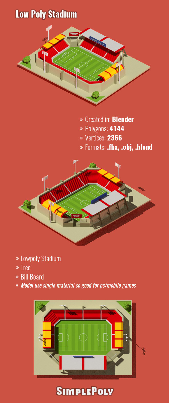 Low Poly Stadium - 3DOcean Item for Sale
