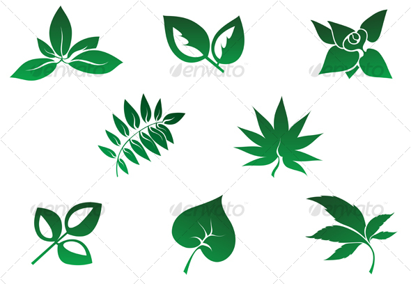 Set of leaves icons - Decorative Vectors