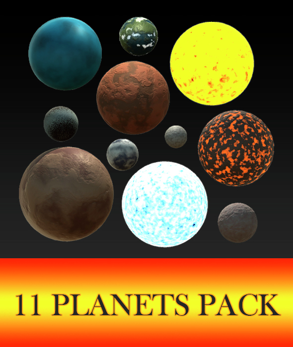 3DOcean 11 Planets Pack 14828528
