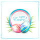 Easter Card with Blue and Pink Eggs