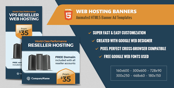 Web Hosting Banners - HTML5 Animated