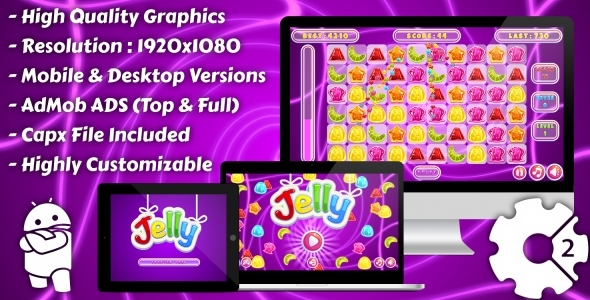Jelly Match-3 - HTML5 Game, Mobile Vesion + AdMob!!! (Xây dựng-2 CAPX)