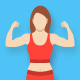 Fitness Gym and Healthy Lifestyle Flat Vector Icons