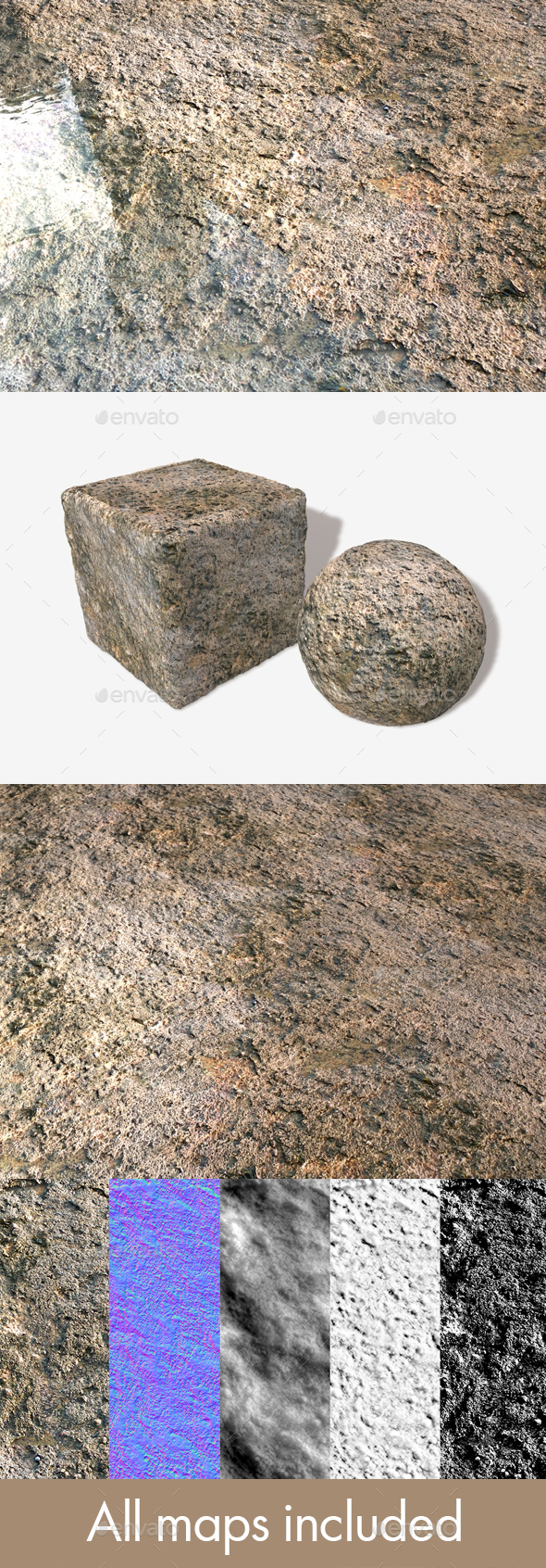 Grimy Sea Rock Seamless Texture - 3DOcean Item for Sale