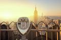Manhattan Skyline and Tourist Binoculars New York