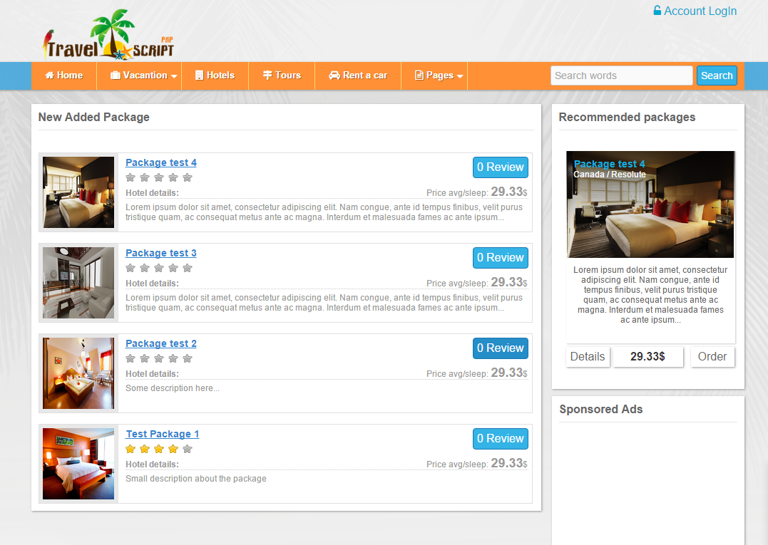 Joomla Travel Agency Booking System