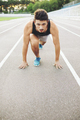 Male athlete on starting position