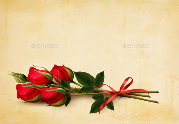 Happy Valentines Day Background Single Red Roses Vector
