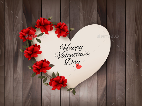 Happy Valentines Day Background Retro Greeting Card