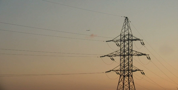 Reliance Power Line At Sunset Time Lapse