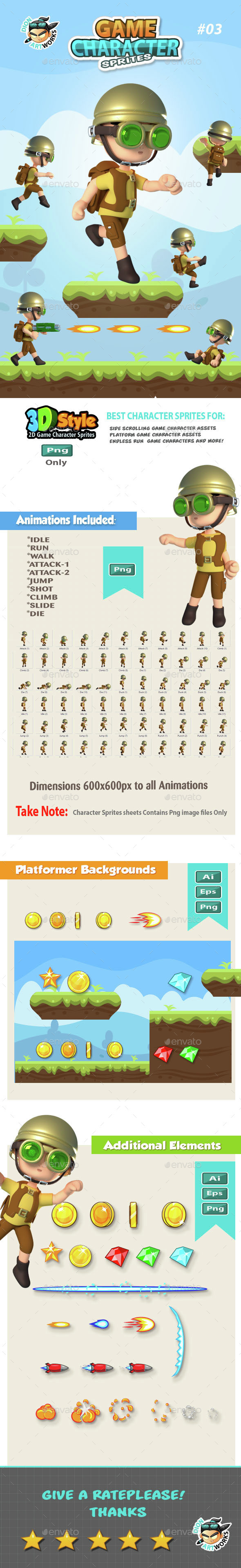 3D Style Game Character Sprites 03 (Sprites)