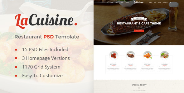 LaCuisine | Restaurant PSD Template