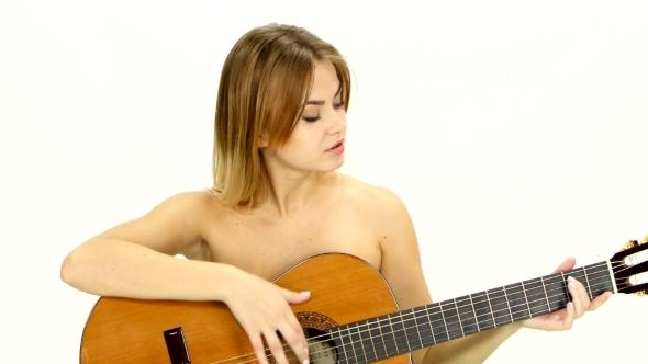 Girl Playing Guitar Naked