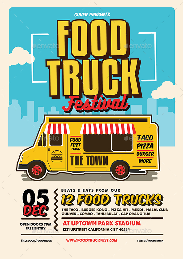 Pop Art Food Truck Flyer/Poster/Menu by Guuver | GraphicRiver