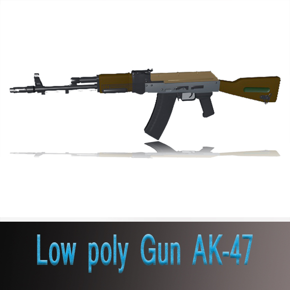 Low poly Gun AK-47 - 3DOcean Item for Sale