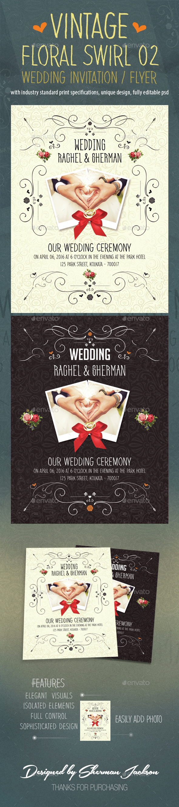 Vintage Floral Swirl Wedding Flyer/Invitation 02