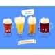 Set Of Beer Characters. Vector Cute Cartoons
