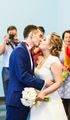 First kiss of newly married couple
