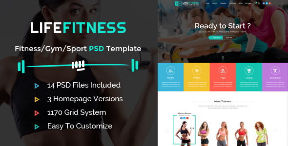 Life Fitness - Gym&Sport PSD Template