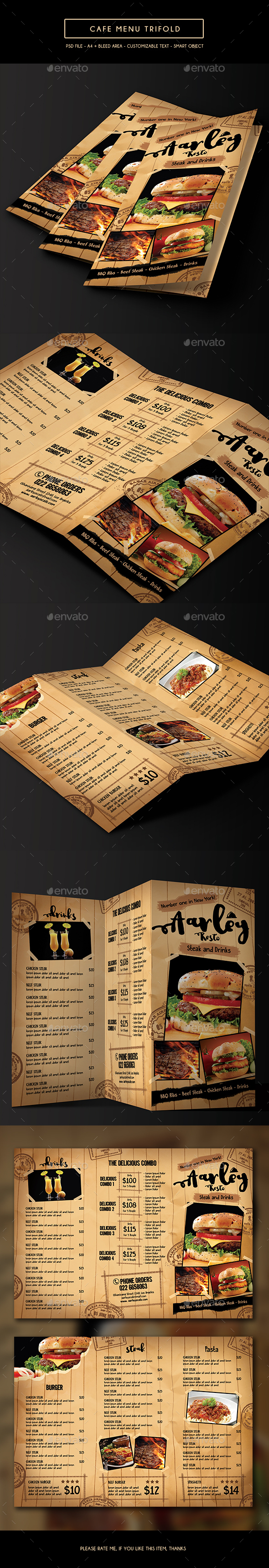 Cafe Menu Trifold